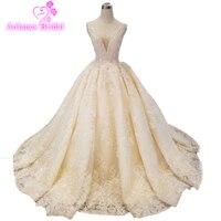 Ball Wedding Dress Lace Beaded Belt V Neck Vestidos De Novia Sexy Wedding Gown Bridal Robe De Mariage 2019 Champagne Bridal Gown