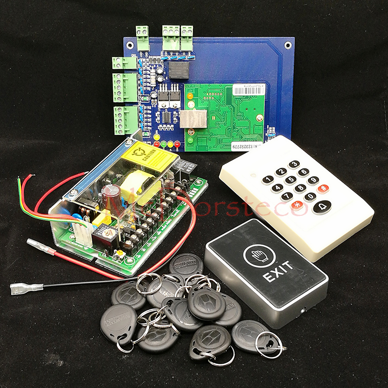DIY TCP/IP Single Door Access Panel 125khz Rfid Card Access Controller+Keypad Rfid slave Reader + Power Unit+ Touch Exit Button good quality smart rfid card door access control reader touch waterproof keypad 125khz id card single door access controller