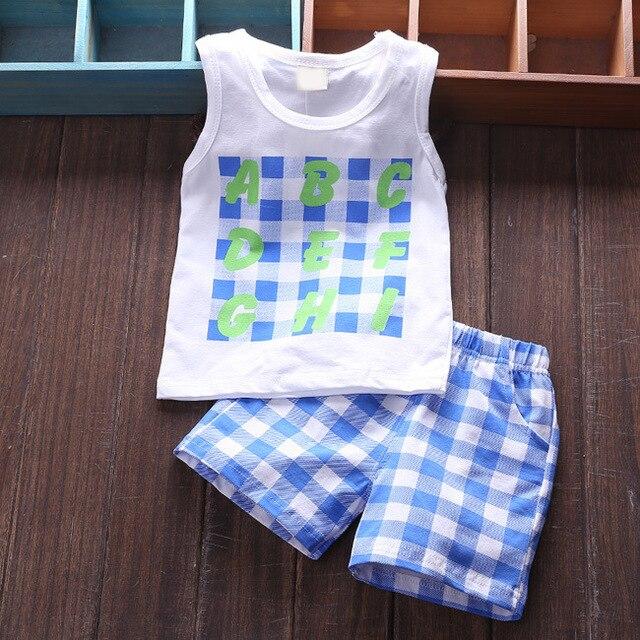 2015 New Summer Baby Boy Clothing Set Sleeveless Shirt + Shorts Kid Boy Summer Set plaid short pants Children Boy Clothes Vest
