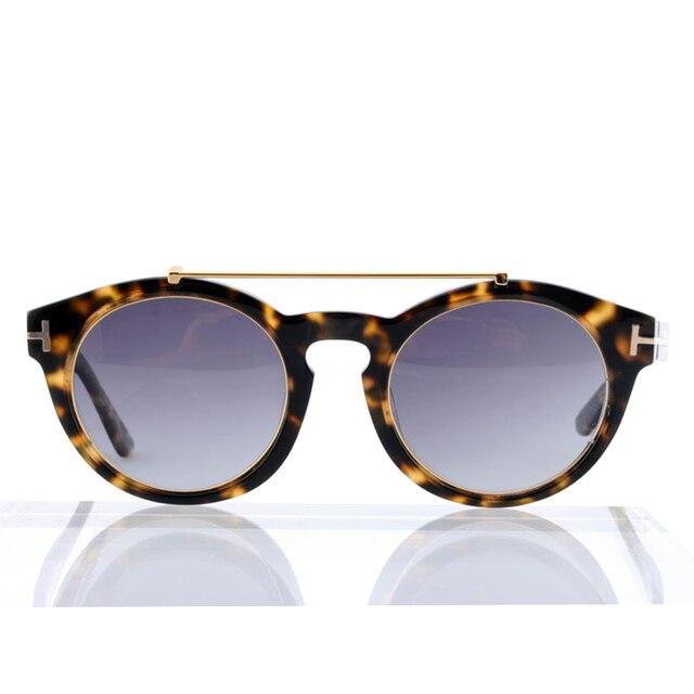 a30fd6388f3 2016 Luxury Brand Men Vintage Round Tom Sunglasses Women Ford TF9357 Gradient  Metal Sun Glasses Oculos with Original Logo