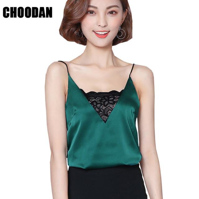 59804eb8908a6 US $6.9 43% OFF Satin Tank Top Lace Patchwork Sexy V neck Camisole Tank  Summer 2018 Fashion Korean Style Sleeveless Women Tops Fitness Clothing-in  ...