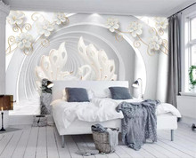 3D Wallpaper Modern Swan Jewelry Flower Photo Wall Mural Living Room TV Bedroom Background Wall Papers For Walls 3 D Home Decor