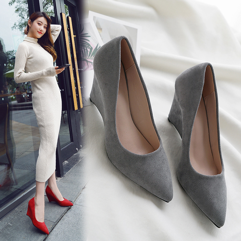 SAILING LU Women Shoes Flock Solid High-Heeled Pumps Summer 2019 Fashion Pointed Toe Female Leisure Slip On Size 35-40 XWD7215 7