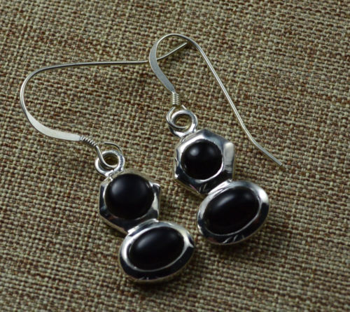 Genuine Black Onyx Earrings 100 925 Solid Sterling Silver 34mm Ke0284
