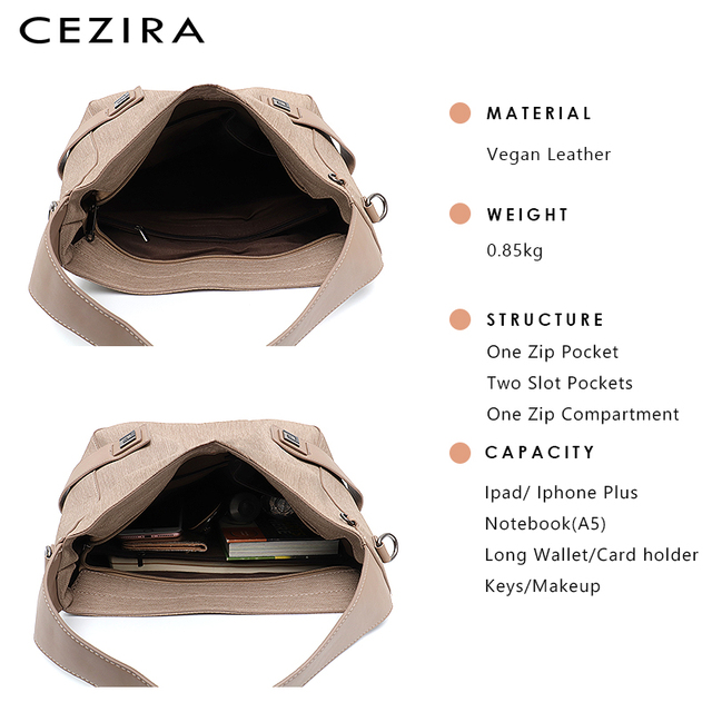 CEZIRA Casual Large Hobo for Women High Quality Vegan Leather Handbags Female Shoulder Bag  Ladies Fashion design Messenger Bag 3