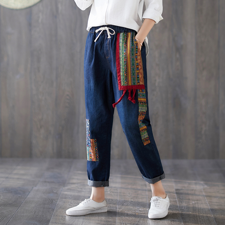 Casual Boho Vintage Retro Ethnic Embroidery Patchwork Elastic Waist   Jeans   Blue Denim Women Harem Pants Capri Spring Trousers