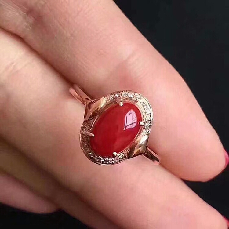 цена на Silver jewelry wholesale 925 pure silver inlaid natural red coral female ring Mini peach garden