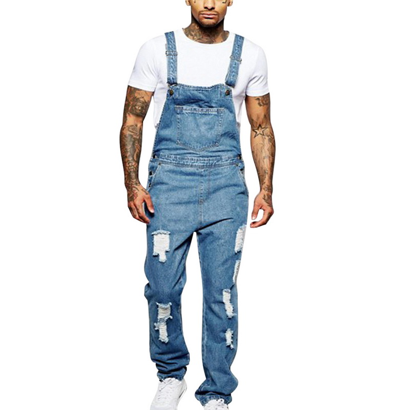 MoneRffi 2019 Men Denim Overalls Full Length Ripped Jeans Jumpsuit MenCasual Jeans Overalls Pants Distressed Denim Bib Overalls