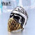 Beier fresco banhado a ouro cruz caveira anel aço inoxidável 316l biker anel punk personalidade do homem estilo br8-355