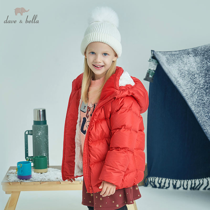 цены на DBK8337 dave bella winter baby girls down jacket children duck down padded coat kids hooded outerwear