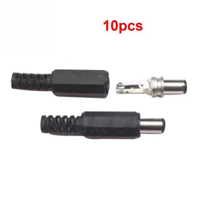10 piunids/lote conectores de conexión de alimentación de CC 5,5x2,1mm macho de soldadura CC de alimentación de barril de enchufe Jack conectores rectos