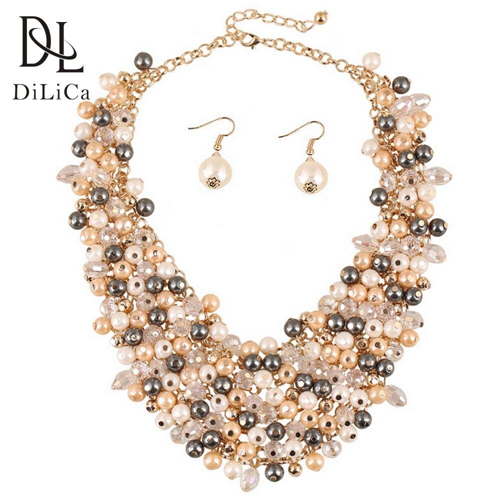 Declaración collar con cuentas de perla collar babero pendientes conjunto para Mujer Moda