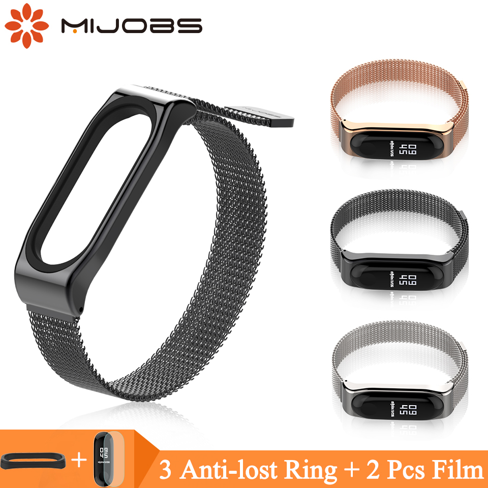 Mijobs Mi Band 4 Strap Bracelet for Xiaomi Mi Band 4 3 Metal Wrist Strap Screwless Stainless Steel Bracelet Wristbands MiBand 3 bracelet