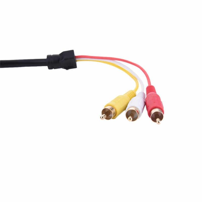 1.5m 1.4 HD o HDMI męski na 3 RCA AV audio wideo 5FT adapter kablowy do telewizora HDTV DVD 1080p kabel czerwony biały żółty