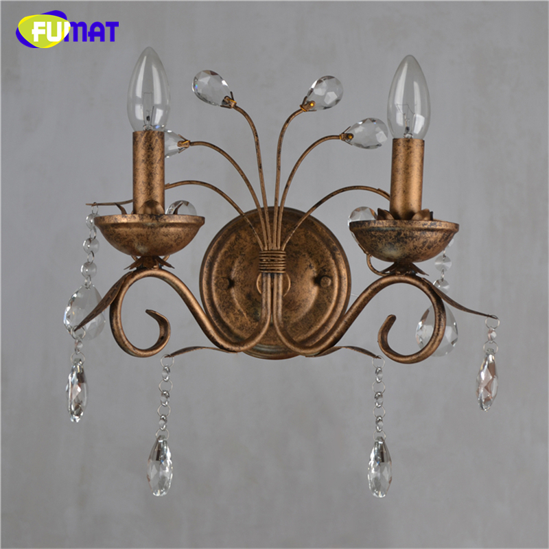 FUMAT K9 Crystal Wall Lamps Vintage Metal Art Deco Wall Sconce Light Brass Bedside Light 2 Lights Living Room Candle Wall Lamps