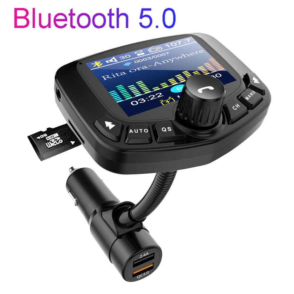 Car Bluetooth MP3 Player FM Transmitter Large Screen With 2 USB Fast Charger