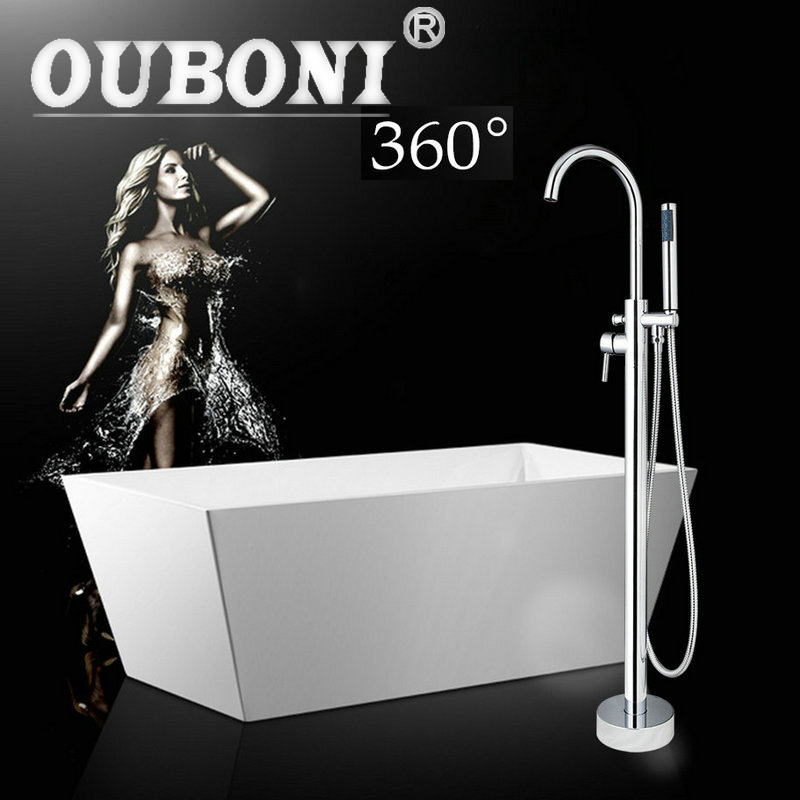OUBONI Standing Floor Mounted Bathtub Mixer Tap Faucet hand Shower Tub Polished Chrome Floor Stand Bathtub Faucet thermostatic valve mixer tap w hand shower tub spout tub faucet chrome finish