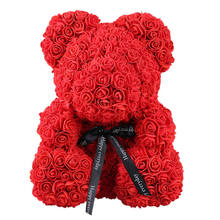 40cm Red Bear Rose Teddy Flower Artificial Decoration Christmas Gifts for Women Valentines Gift