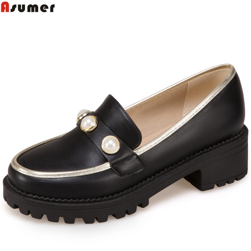 ASUMER black white pink fashion spring autumn ladies single shoes round toe square heel casual women med heels shoes asumer black white fashion spring autumn ladies single shoes pointed toe square heel women genuine leather med heels shoes