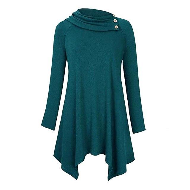 c82b1b02adf2 € 11.47 22% de DESCUENTO Mujeres de camisa de cuello Raglan manga larga de  Color sólido suelto blusa Casual túnica para Mujer Tops y blusas camisa ...