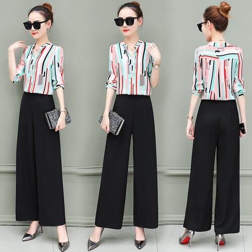 New OL suits 2018 summer Korean fashion stripe chiffon blouse top & wide-legged pants two pcs clothing set lady outfit S-4XL 2