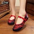 Дизайн Sexy красный танцевальная обувь женщины китайский Вышивка обувь дамы кристалл zapatillas mujer плоским оксфорд обувь для женщин бездельников
