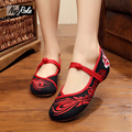 Design Sexy red dance shoes women chinese Embroidery shoes ladies crystal zapatillas mujer flat oxford shoes for women loafers