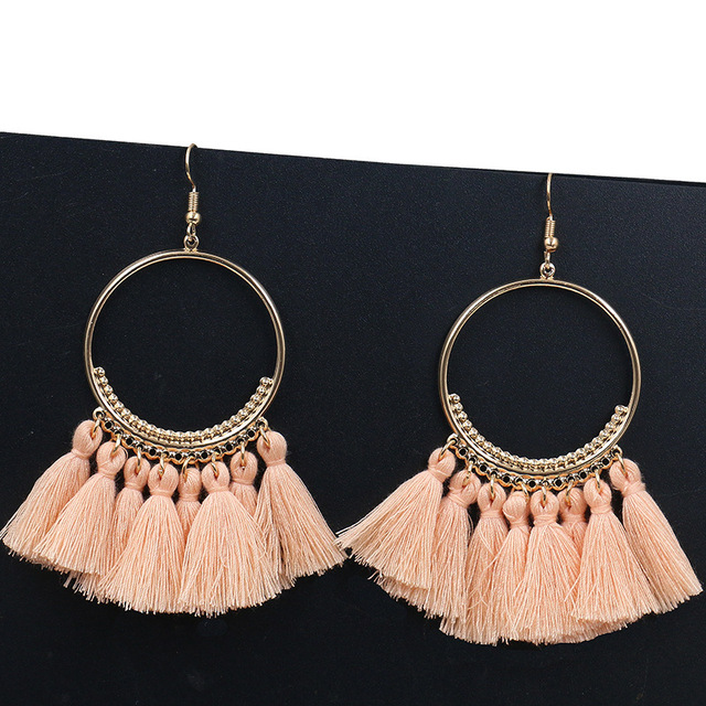 Bohemian Handmade Statement Tassel Earrings for Women Vintage Round Long Drop Earrings Wedding Party Bridal Fringed Jewelry Gift