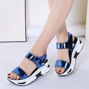 Image 2 - WDZKN 2020 Summer Shoes Women Sandals Open Toe Wedges Heel Sandals Mirror PU Leather Women Casual Platform Sandals Black Blue