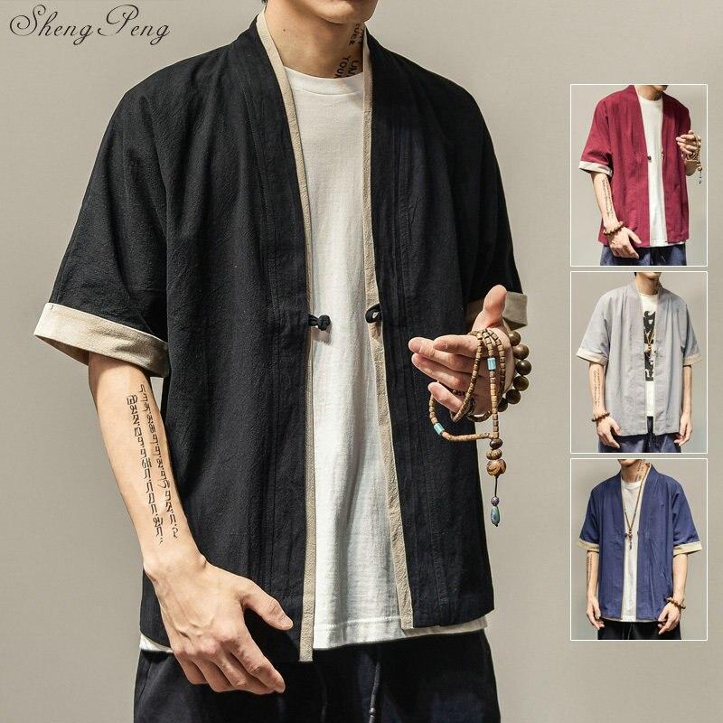 2019 nouveau harajuku hommes lâche cardigan japonais kimono rayé manteau haute rue hip hop vêtements d'extérieur décontractés hommes kimono japonais V1344