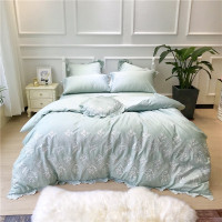Egyptian cotton Embroidery Green pink Luxury Bedding Set 4/7Pcs King Queen size Bed set Duvet Cover Bed/Fit sheet set Pillowcase