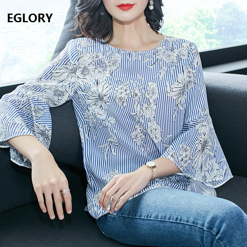 Striped Print Long Sleeve Shirt Women Fashion Pure Silk Casual Blouse Female Loose High Quality Woman Summer Tops and Blouses
