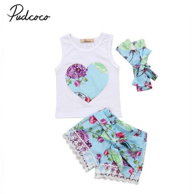 fcfcbb0424b5 Little Girls 3Pcs Floral Summer Clothing Set Toddler Baby Girl Clothes Floral  Vest Tops +Lace