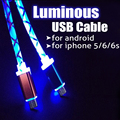 1M Luminous light Micro USB 8pin charging charger data sync line rope cord wire cable for iPhone 5 6 7 Android Samsung Huawei LG