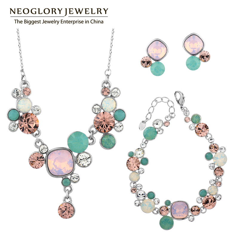 Neoglory MADE WITH SWAROVSKI ELEMENTS Crystals White Gold Pls