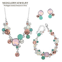 Neoglory MADE WITH SWAROVSKI ELEMENTS Crystals Two Colors African Beads Wedding Jewelry Sets For Women 2017 JS1