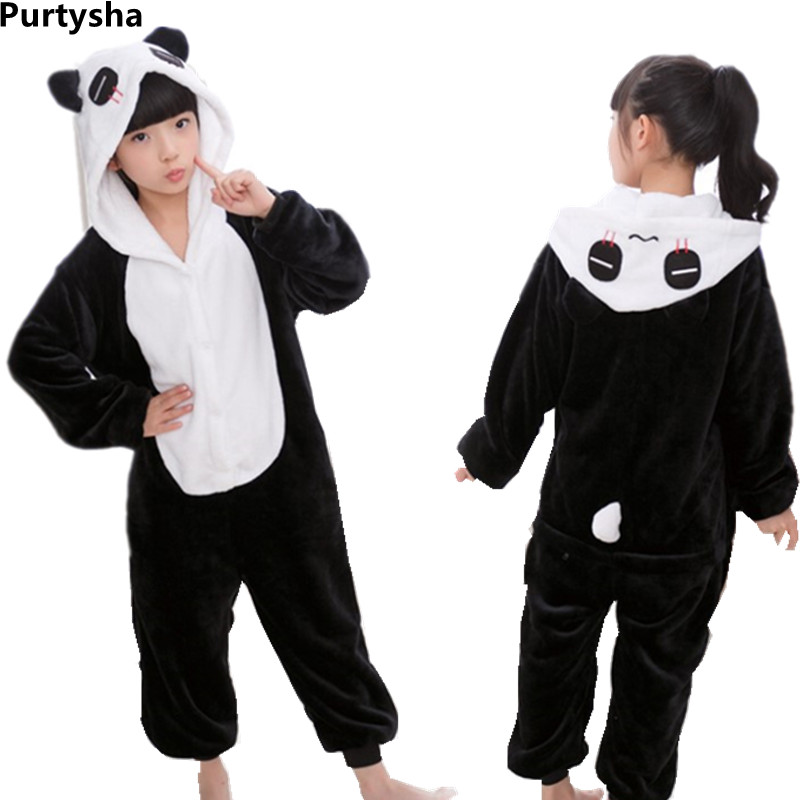 Children Toddler Girls Boys Pajamas  Kids Fall Winter Flannel Animal Panda Blanket Sleepers Halloween Cartoon Hooded Nightgown