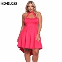 HO-KLOSS Halter Neck Rose Red Dress Kobiety Sexy Hollow Out Rękawów Celebrity Party Suknie Kobiety Nieprawidłowości Seks Sukienka