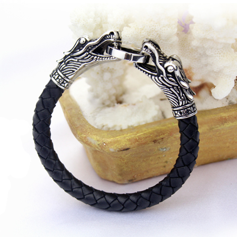 Gothic Punk Viking Bracelet Braided Genuine Leather With Stainless Steel Dragon Head Vintage Cuff Bangle For