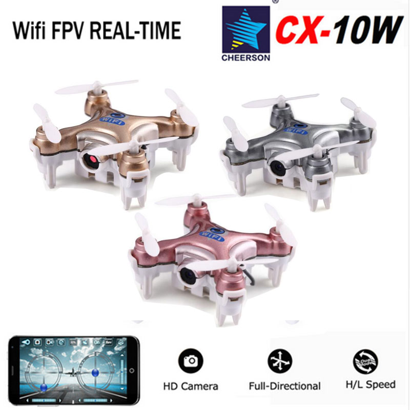 Cheerson CX-10W CX10W RC Drones CX-10W-TX Quadcopter Wifi Control RC Helicopter Mini Drone With Camera 2.4G 4CH 6-Axis FPV Dron
