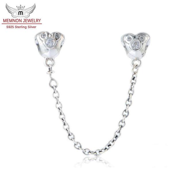 2015 Nuevos encantos de la joyería de Plata de Ley 925 Del Corazón de la joyería fina de Seguridad de Mickey Cadena charm fit marca pulseras DIY SF540