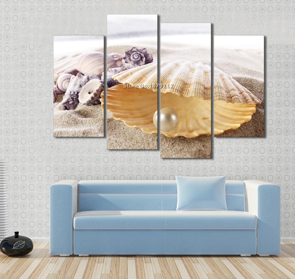 Free Shipping 4pcs Shell Pearl Beach Wall Painting Print: 4 Piece Modular Picture Wall Canvas Painting Pearl Shells