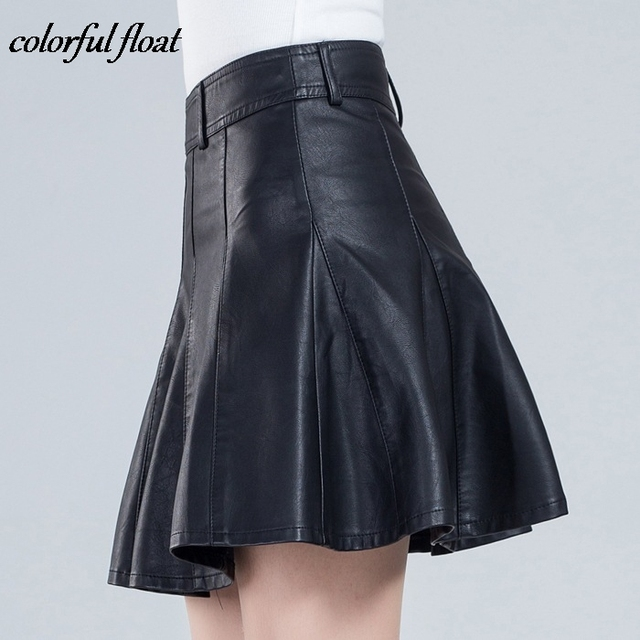 76f3280d6 2017 new short skirt women's autumn and winter models were thin code half  skirt a word pleated PU leather skirt 03