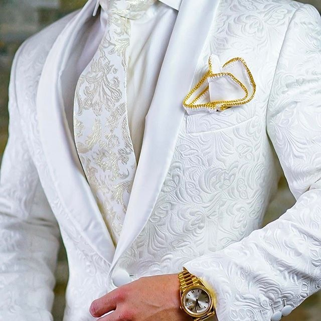 High Quality One Button White Paisley Groom Tuxedos Shawl Lapel Groomsmen Mens Suits Blazers (Jacket+Pants+Tie) W:715(China)