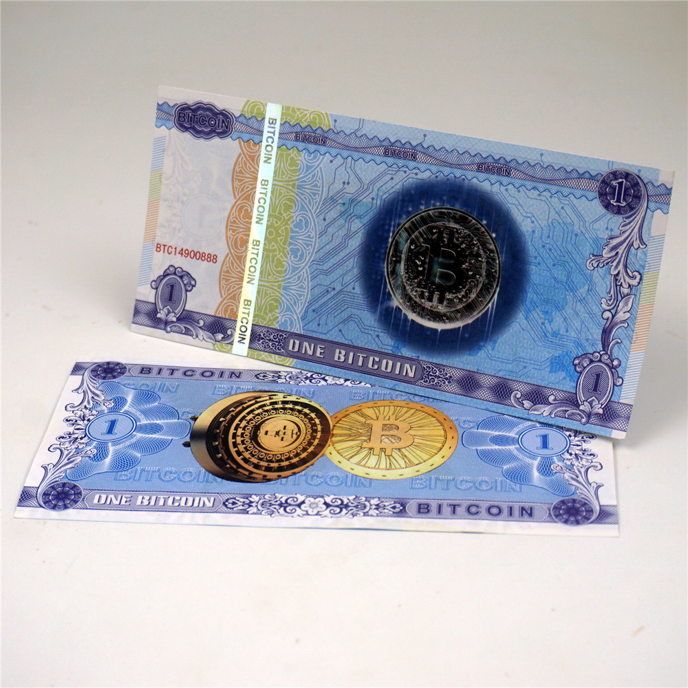 1pcs One Bitcoin Money Not Currency Paper Gold Banknotes Anti-Fake 1 BTC Bills Collectibles  Gold Banknotes