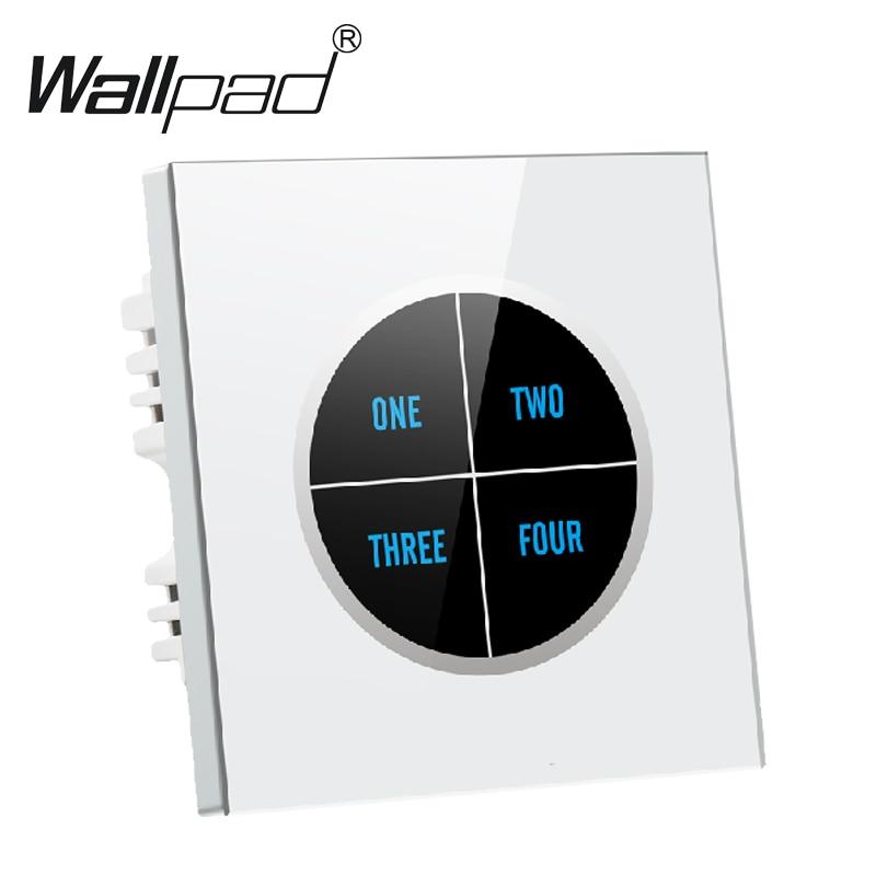 Commutateur de mur de lumière tactile en verre trempé blanc de luxe 4 gangs 1way gratuit personnaliser bouton 110 V ~ 250 V tactile interrupteur mural, livraison gratuite