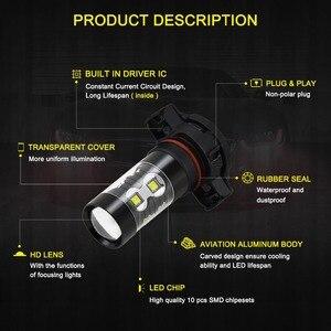 Image 3 - 2pcs PSX24W LED H16 H10 H11 H8 ערפל אור 9006 HB4 אוטומטי הנורה 880 881 50W LED הנורה רכב בשעות היום ריצת אור DRL מנורת 6000K לבן