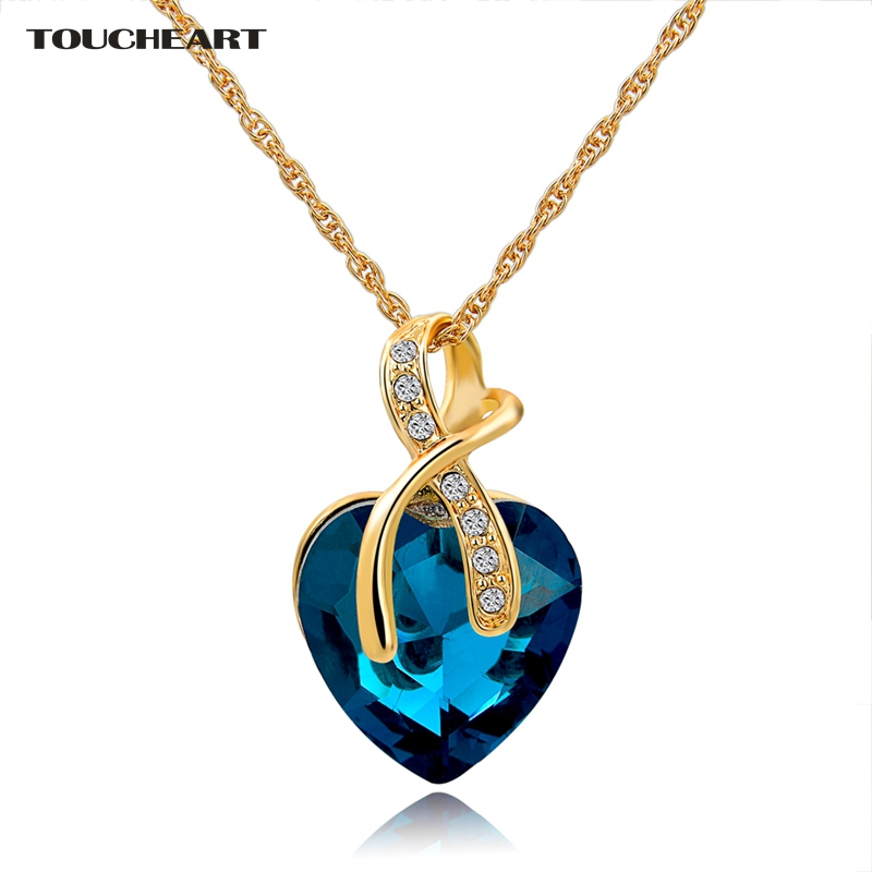 Austrian Crystal Heart Pendants Necklaces For Women Classic Gold color Stat..