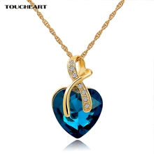 Austrian Crystal Heart Pendants Necklaces For Women Classic Gold color Statement Necklace Ethnic Jewelry Green Maxi Bijouterie