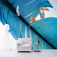 Wallpapers YOUMAN 3D Custom Cartoon Modern Feather Parrot Photo Home Decor For Kids Bedroom Sofa Environment Friendly Murals